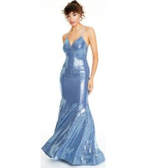 city studios juniors' sequin cross-back-strap gown