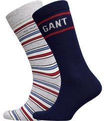 d1. stripe and logo sock giftbox underwear socks regular socks blå gant