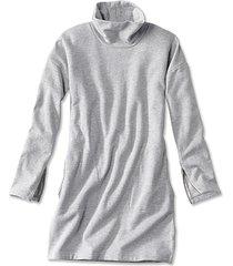 signature fleece sweatshirt dress, light gray, x large