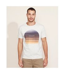 camiseta masculina degradê por do sol manga curta gola careca cinza mescla claro
