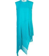 asymmetric plisse dress turquoise