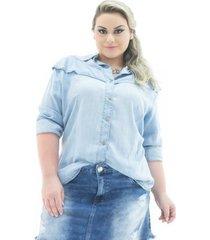 camisa jeans confidencial extra manga longa com babado plus size feminina