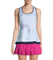 eleven by venus williams women's printed tank top - starlet blue - size xl