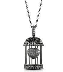 azhar designer necklaces, gabbietta silver and zircon cage pendant necklace