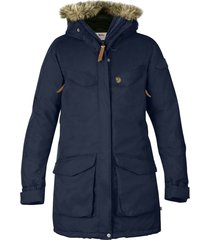 women's fjallraven nuuk waterproof parka with removable faux fur trim, size x-small - blue