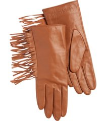 calvin klein fringe leather gloves
