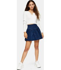 denim gathered mini skirt - mid stone