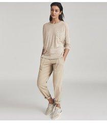 reiss coraline - fine jersey long sleeved t-shirt in neutral, womens, size xl