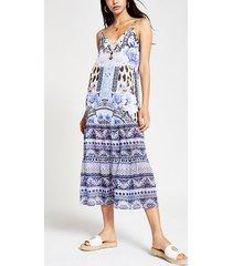 river island womens blue floral cami midi beach dress