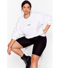 womens so over it plus oversized sweatshirt - white