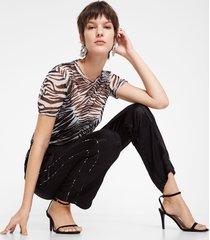trousers in glossy logomania - black - l
