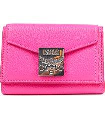 mcm patricia park avenue pink leather wallet pink sz: