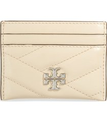 women's tory burch kira chevron quilted leather card case - ivory