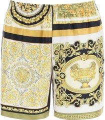 versace barocco mosaic print silk bermudas