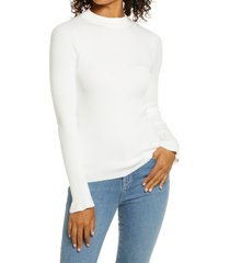 women's rachel parcell mock neck ribbed long sleeve sweater, size x-large - ivory (nordstrom exclusive)