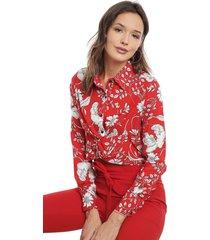 blusa nrg flores rojo - calce regular