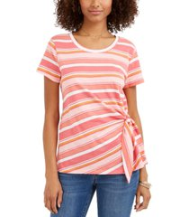 style & co striped tie-side top, created for macy's