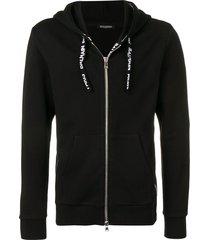balmain classic zipped hoodie - black