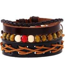 punk unisxe bracciale multistrato in pelle intrecciata con cordino di cera bracciale regolabile gioielli etnici