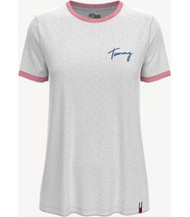 tommy hilfiger women's essential tommy ringer t-shirt bright white - l