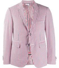 thom browne rwb seersucker striped sport blazer - red