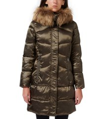 sam edelman high-shine faux-fur-trim hooded puffer coat
