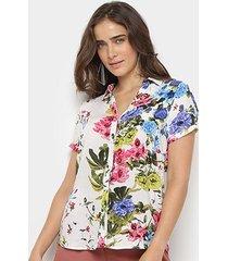 camisa anany manga curta floral feminina