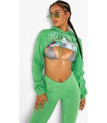 korte hoodie met naaddetail, green