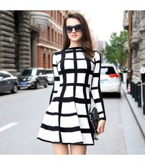 women winter warm knitted long sleeve stripe plaid tunic above knee mini dress
