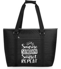 "oniva ""sunrise sunburn sunset repeat"" tahoe xl cooler tote bag"