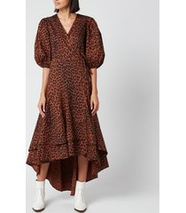 ganni women's leopard print cotton poplin wrap dress - toffee - eu 42/uk 14