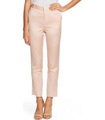 women's vince camuto seersucker satin slim leg trousers, size 16 - pink