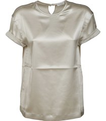 brunello cucinelli back keyhole detail shiny t-shirt