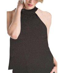 blusa cuello halter negro brillante by brasil soo glam