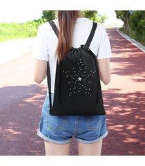 summer womens stars waterproof drawstring backpack portable school bags for girl