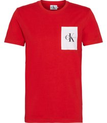 monogram pocket slim t-shirt rojo calvin klein