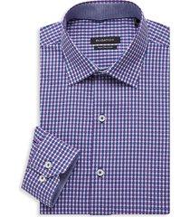 bugatchi men's regular-fit gingham dress shirt - plum - size 17