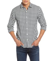 men's bonobos slim fit check button-up flannel shirt, size xx-large r - grey