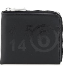 mm6 maison margiela zipped wallet with logo print