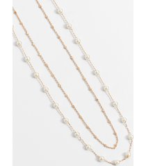maurices womens dainty double row pearl drape necklace