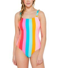 hula honey juniors' bands of color tie-shoulder one-piece swimsuit, created for macy's women's swimsuit