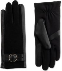 isotoner signature women's sleekheat genuine leather gloves with buckle