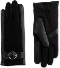 isotoner signature women's sleekheat genuine leather gloves with buckle