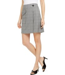 calvin klein x-fit slim-fit plaid faux-wrap skirt