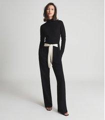 reiss ada - open back jumpsuit in black, womens, size 12