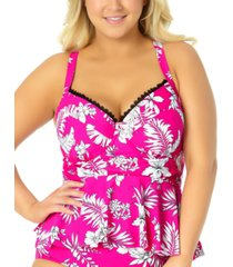 california waves trendy plus size peplum underwire tankini top, created for macy's women's swimsuit