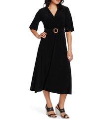 women's chaus belted faux wrap midi dress, size large - black