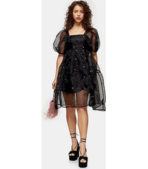 petite black embroidered organza tiered dress - black