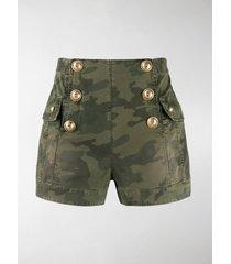 balmain camouflage high-waisted shorts