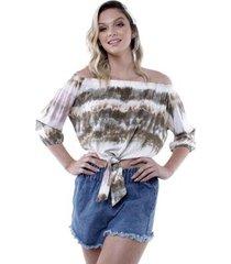 blusa ombro a ombro tie dye pop me feminina